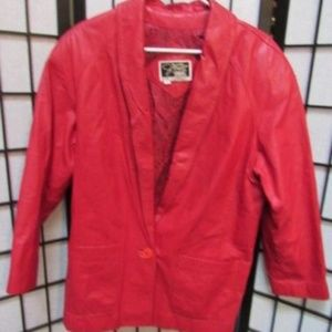 Red Leather Signature 3/4 length Blazer Jacket